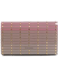 Elie Saab Ribbed Clutch Pink And Purple