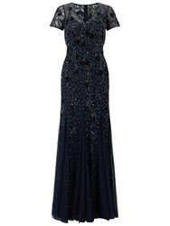 Adrianna Papell Short Sleeve Beaded Gown Navy