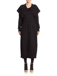 A Detacher Solid Knit Sweater Coat Black