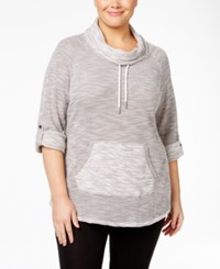 Calvin Klein Performance Plus Size Space Dyed Cowl Neck Top Grey