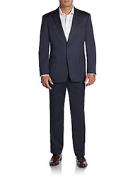 Tommy Hilfiger Trim Fit Tic Weave Worsted Wool Suit Navy