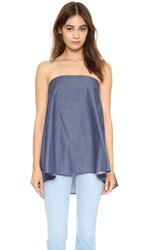 Timo Weiland Olivia Strapless Top With Pockets Chambray Denim