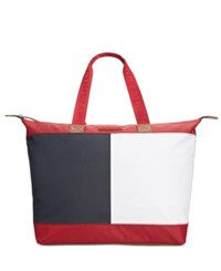 Tommy Hilfiger Colorblock Flag Top Zip Nylon Tote Tommy Red