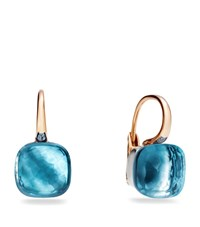Pomellato Large Nudo Blue Topaz Rose Gold Earrings Female