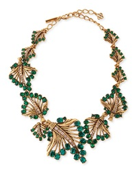 Oscar De La Renta Cutout Jeweled Leaf Necklace Green