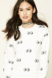Forever 21 Eyes Fleece Sweatshirt White Black