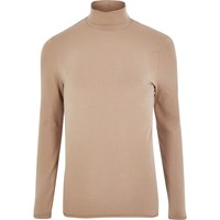 River Island Mens Blush Pink Muscle Fit Roll Neck T Shirt