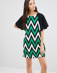 Traffic People Butterfly Kiss Dress In Chevron Print Black Green