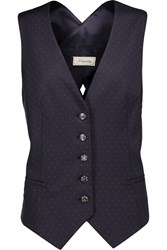 Temperley London Isaac Polka Dot Wool Twill Vest Blue