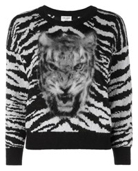 Saint Laurent Tiger Intarsia Wool And Mohair Sweater Black White