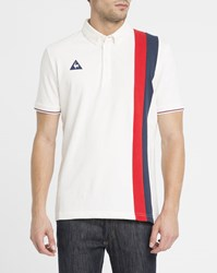 Le Coq Sportif Ecru Retro Stripes Polo Shirt Beige