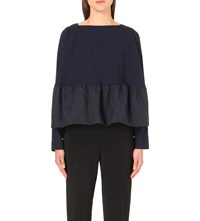 Antonio Berardi Flared Hem Crepe And Organza Top Blue