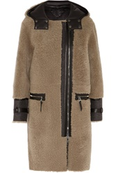 Belstaff Ava Leather Paneled Shearling Coat Brown