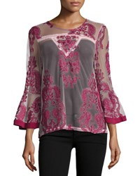Minkpink The Sweetest Sound Mesh Top Red Pattern