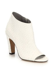Vince Sierra Python Embossed Leather Open Toe Booties Optic White Black