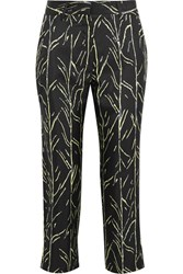 Proenza Schouler Cropped Printed Silk Twill Straight Leg Pants Black