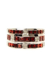 Olivia Leone Sterling Silver Square Cut Garnet And Round Cut White Diamond Ring Red