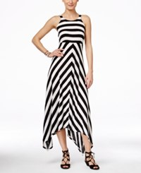 Inc International Concepts Sleeveless Striped Handkerchief Hem Maxi Dress Only At Macy's Black Neutral White