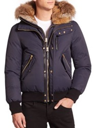 Mackage Dixon Lux Fur Trim Down Bomber Jacket Navy Black