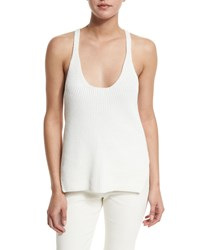 Helmut Lang Ribbed Cotton Racerback Tank White