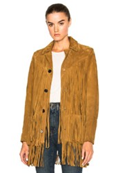 Saint Laurent Texan Suede Fringe Jacket In Brown