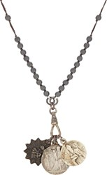 Miracle Icons Triple Pendant Necklace Black