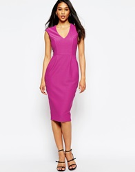 Asos Wiggle Dress With V Neck In Textured Jersey Fuschia