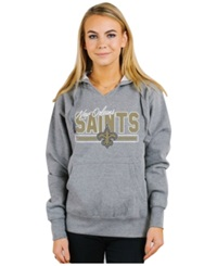 Authentic Nfl Apparel Women's New Orleans Saints Holiday Logo Hoodie Light Gray