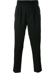 Paolo Pecora Elastic Waistband Cropped Trousers Black