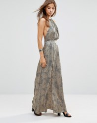 Wyldr Projection Leopard Printed Maxi Dress With Open Back Multi