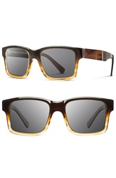 'Haystack' 52Mm Acetate And Wood Sunglasses Sweet Tea Elm Burl Grey