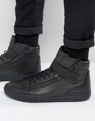 Aldo Weberville Hi Top Trainers In Black Leather Black