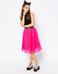 Jaded London Midi Skater Skirt Pink