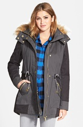 Guess Two Tone Parka With Faux Shearling And Faux Fur Trim Online Only Charcoal Black