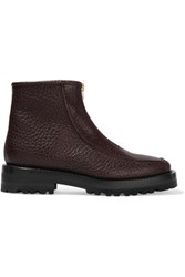 Marni Textured Leather Ankle Boots Dark Brown