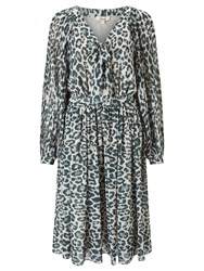 Alice By Temperley Somerset Animal Print Pleated Dress Grey