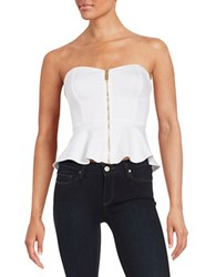 Guess Strapless Peplum Top White