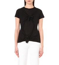 Marques Almeida Slashed Knotted Jersey T Shirt Black