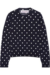 Comme Des Garcons Girl Polka Dot Intarsia Wool Sweater Navy