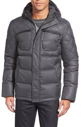 7 For All Mankind Herringbone Quilted Hooded Down Jacket Grey Herringbone