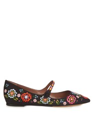 Tabitha Simmons Hermione Point Toe Embroidered Flats Black Multi