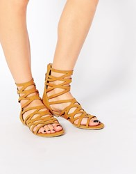 London Rebel Gladiator Flat Sandals Tan Pu