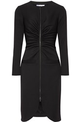 Oscar De La Renta Gathered Stretch Wool Crepe Dress Black