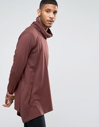 Asos Longline Long Sleeve T Shirt With Funnel Neck And Asymmetric Hem Rust Brown
