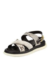 Men's Leather Snake Print Sandal Stone Gold Versace