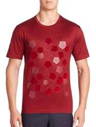 Z Zegna Short Sleeve Tee With Flocking Pentagon Red