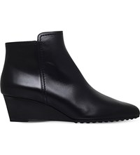 Tod's Gomma Leather Wedge Ankle Boots Black