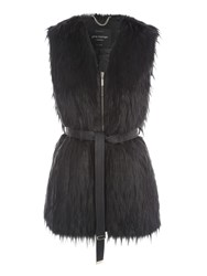 Jane Norman Black Feather Fur Zip Belted Gilet