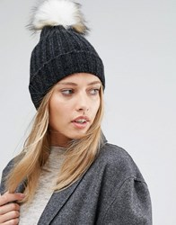 Pieces Varen Pom Beanie Hat Dark Grey Melange