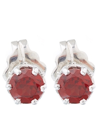 Anna Sheffield Silver Petit Garnet Stud Earrings